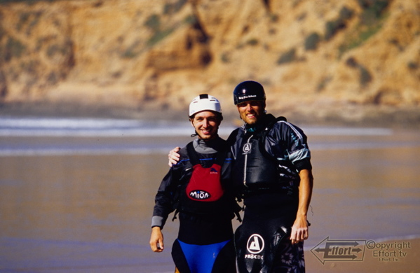 Cooke and Hall on the beach during a 2008 surfing trip in Morocco