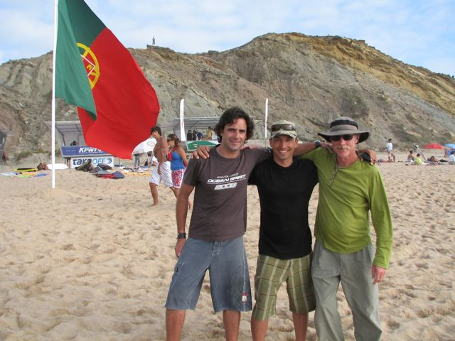Luis Pedro, myself and Russ Buskirk posing in front of the Motherland's National flag.
