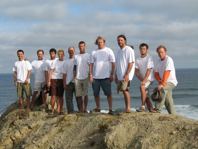 The US East Surf Kayak Team arose this morning for a group photo.