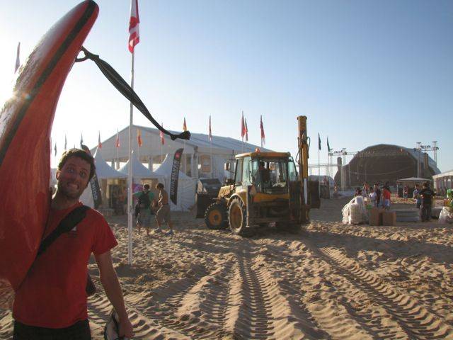 """Tractor!"" is what Mason would say.  There was lots of heavy machinery present on the beach for the setup."
