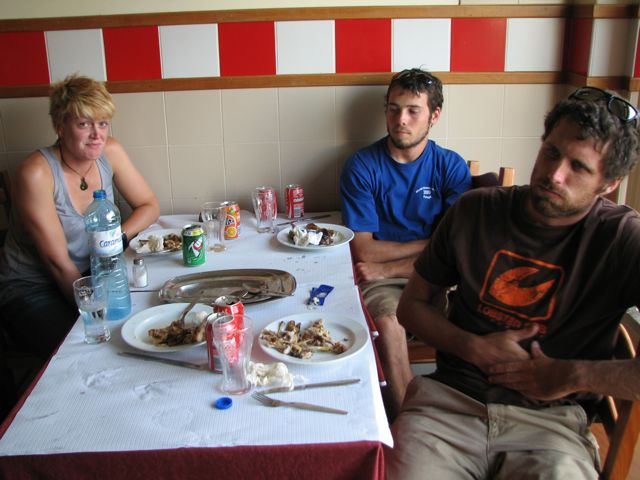 A Santa Cruz restaurant, Au Coq, served a serious chicken dinner.  The four of us devoured two birds in short order.